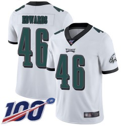 Limited Men's Herman Edwards White Road Jersey - #46 Football Philadelphia Eagles 100th Season Vapor Untouchable