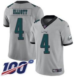 Limited Men's Jake Elliott Silver Jersey - #4 Football Philadelphia Eagles 100th Season Inverted Legend
