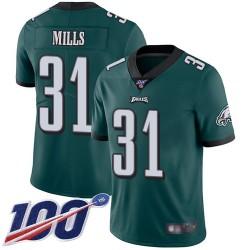 Limited Men's Jalen Mills Midnight Green Home Jersey - #31 Football Philadelphia Eagles 100th Season Vapor Untouchable