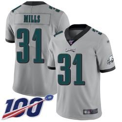 Limited Men's Jalen Mills Silver Jersey - #31 Football Philadelphia Eagles 100th Season Inverted Legend