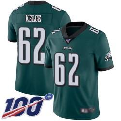 Limited Men's Jason Kelce Midnight Green Home Jersey - #62 Football Philadelphia Eagles 100th Season Vapor Untouchable