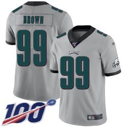 Limited Men's Jerome Brown Silver Jersey - #99 Football Philadelphia Eagles 100th Season Inverted Legend