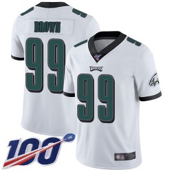Limited Men's Jerome Brown White Road Jersey - #99 Football Philadelphia Eagles 100th Season Vapor Untouchable