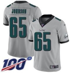 Limited Men's Lane Johnson Silver Jersey - #65 Football Philadelphia Eagles 100th Season Inverted Legend