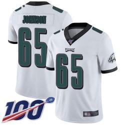 Limited Men's Lane Johnson White Road Jersey - #65 Football Philadelphia Eagles 100th Season Vapor Untouchable