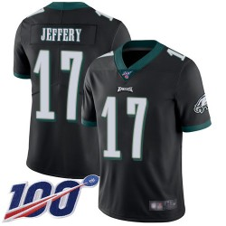 Limited Men's Alshon Jeffery Black Alternate Jersey - #17 Football Philadelphia Eagles 100th Season Vapor Untouchable