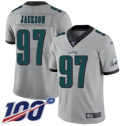 Limited Men's Malik Jackson Silver Jersey - #97 Football Philadelphia Eagles 100th Season Inverted Legend