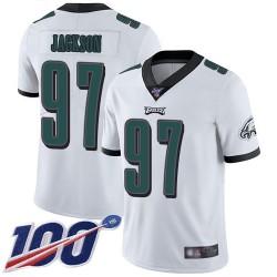 Limited Men's Malik Jackson White Road Jersey - #97 Football Philadelphia Eagles 100th Season Vapor Untouchable