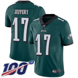 Limited Men's Alshon Jeffery Midnight Green Home Jersey - #17 Football Philadelphia Eagles 100th Season Vapor Untouchable