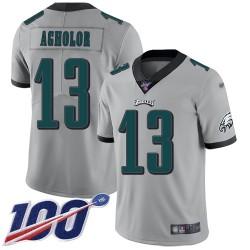 Limited Men's Nelson Agholor Silver Jersey - #13 Football Philadelphia Eagles 100th Season Inverted Legend
