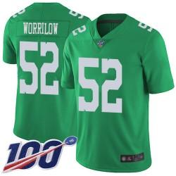 Limited Men's Paul Worrilow Green Jersey - #52 Football Philadelphia Eagles 100th Season Rush Vapor Untouchable