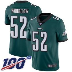 Limited Men's Paul Worrilow Midnight Green Home Jersey - #52 Football Philadelphia Eagles 100th Season Vapor Untouchable