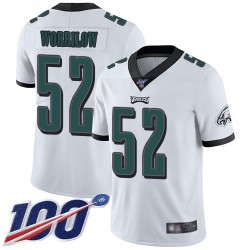 Limited Men's Paul Worrilow White Road Jersey - #52 Football Philadelphia Eagles 100th Season Vapor Untouchable
