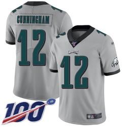 Limited Men's Randall Cunningham Silver Jersey - #12 Football Philadelphia Eagles 100th Season Inverted Legend