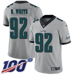 Limited Men's Reggie White Silver Jersey - #92 Football Philadelphia Eagles 100th Season Inverted Legend