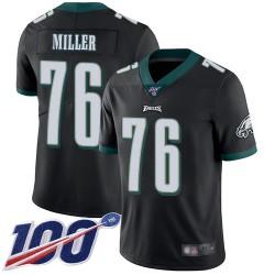 Limited Men's Shareef Miller Black Alternate Jersey - #76 Football Philadelphia Eagles 100th Season Vapor Untouchable