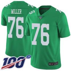 Limited Men's Shareef Miller Green Jersey - #76 Football Philadelphia Eagles 100th Season Rush Vapor Untouchable