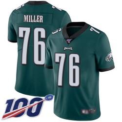 Limited Men's Shareef Miller Midnight Green Home Jersey - #76 Football Philadelphia Eagles 100th Season Vapor Untouchable