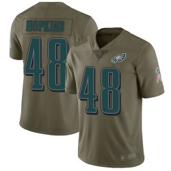 Limited Men's Wes Hopkins Olive Jersey - #48 Football Philadelphia Eagles 2017 Salute to Service