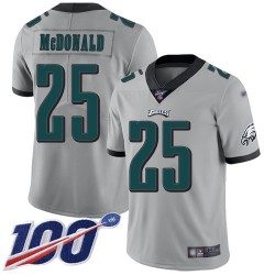 Limited Men's Tommy McDonald Silver Jersey - #25 Football Philadelphia Eagles 100th Season Inverted Legend