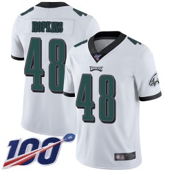 Limited Men's Wes Hopkins White Road Jersey - #48 Football Philadelphia Eagles 100th Season Vapor Untouchable
