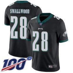 Limited Men's Wendell Smallwood Black Alternate Jersey - #28 Football Philadelphia Eagles 100th Season Vapor Untouchable