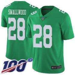 Limited Men's Wendell Smallwood Green Jersey - #28 Football Philadelphia Eagles 100th Season Rush Vapor Untouchable