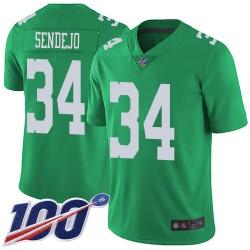 Limited Men's Andrew Sendejo Green Jersey - #34 Football Philadelphia Eagles 100th Season Rush Vapor Untouchable