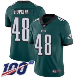 Limited Men's Wes Hopkins Midnight Green Home Jersey - #48 Football Philadelphia Eagles 100th Season Vapor Untouchable
