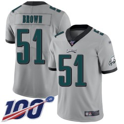 Limited Men's Zach Brown Silver Jersey - #51 Football Philadelphia Eagles 100th Season Inverted Legend