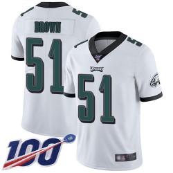 Limited Men's Zach Brown White Road Jersey - #51 Football Philadelphia Eagles 100th Season Vapor Untouchable