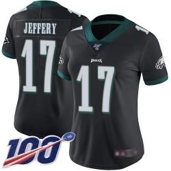 Limited Women's Alshon Jeffery Black Alternate Jersey - #17 Football Philadelphia Eagles 100th Season Vapor Untouchable