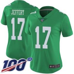 Limited Women's Alshon Jeffery Green Jersey - #17 Football Philadelphia Eagles 100th Season Rush Vapor Untouchable