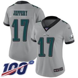 Limited Women's Alshon Jeffery Silver Jersey - #17 Football Philadelphia Eagles 100th Season Inverted Legend