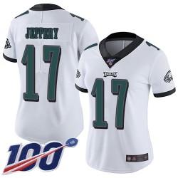 Limited Women's Alshon Jeffery White Road Jersey - #17 Football Philadelphia Eagles 100th Season Vapor Untouchable