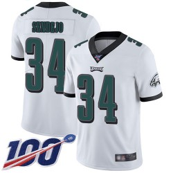 Limited Men's Andrew Sendejo White Road Jersey - #34 Football Philadelphia Eagles 100th Season Vapor Untouchable