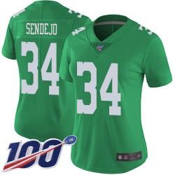 Limited Women's Andrew Sendejo Green Jersey - #34 Football Philadelphia Eagles 100th Season Rush Vapor Untouchable