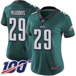 Limited Women's Avonte Maddox Midnight Green Home Jersey - #29 Football Philadelphia Eagles 100th Season Vapor Untouchable