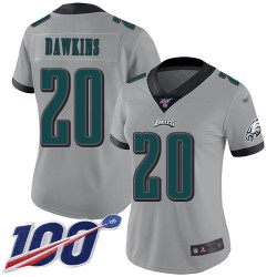 Limited Women's Brian Dawkins Silver Jersey - #20 Football Philadelphia Eagles 100th Season Inverted Legend