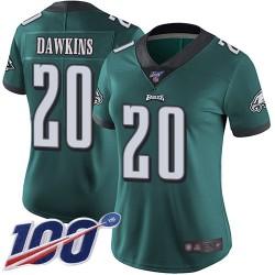 Limited Women's Brian Dawkins Midnight Green Home Jersey - #20 Football Philadelphia Eagles 100th Season Vapor Untouchable