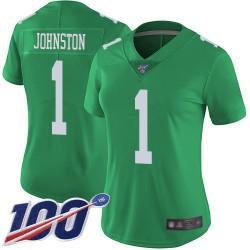 Limited Women's Cameron Johnston Green Jersey - #1 Football Philadelphia Eagles 100th Season Rush Vapor Untouchable