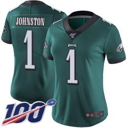 Limited Women's Cameron Johnston Midnight Green Home Jersey - #1 Football Philadelphia Eagles 100th Season Vapor Untouchable