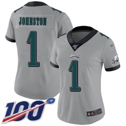 Limited Women's Cameron Johnston Silver Jersey - #1 Football Philadelphia Eagles 100th Season Inverted Legend