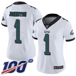 Limited Women's Cameron Johnston White Road Jersey - #1 Football Philadelphia Eagles 100th Season Vapor Untouchable