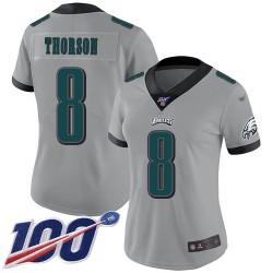 Limited Women's Clayton Thorson Silver Jersey - #8 Football Philadelphia Eagles 100th Season Inverted Legend