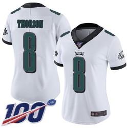 Limited Women's Clayton Thorson White Road Jersey - #8 Football Philadelphia Eagles 100th Season Vapor Untouchable