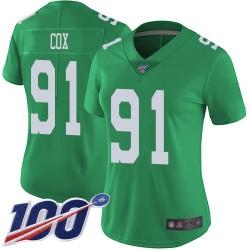 Limited Women's Fletcher Cox Green Jersey - #91 Football Philadelphia Eagles 100th Season Rush Vapor Untouchable
