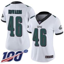 Limited Women's Herman Edwards White Road Jersey - #46 Football Philadelphia Eagles 100th Season Vapor Untouchable