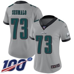 Limited Women's Isaac Seumalo Silver Jersey - #73 Football Philadelphia Eagles 100th Season Inverted Legend