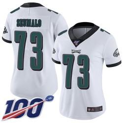 Limited Women's Isaac Seumalo White Road Jersey - #73 Football Philadelphia Eagles 100th Season Vapor Untouchable